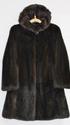 Шуба Норка темно-коричневая  с капюшоном